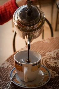 Cafe destilado is a brew of very strong, almost syrup-thick coffee with hot water.