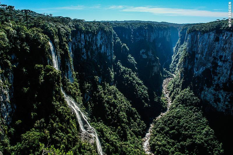 Aparados National Park, also called Itaimbezinho National Park. The trails weren't the most inspiring but the view over the canyon with numerous waterfalls and flocks of sparrows and parakeets was spectacular.