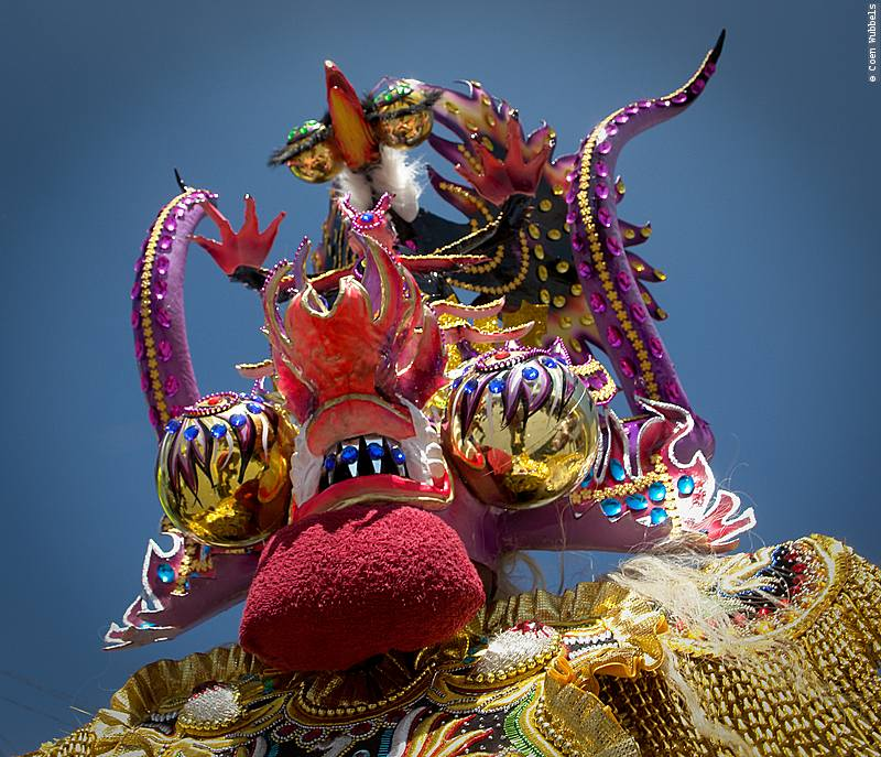 A mask in the traditional dance of La Diablada.